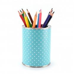 Stiftebecher Punkte türkis inkl. 12 Dreikant Buntstiften| Kinder Stifteköcher Stiftehalter Schreibtisch Organizer Mädchen Junge