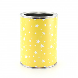Stiftebecher Sterne gelb/weiß inkl. 12 Dreikant Buntstiften| Kinder Stifteköcher Stiftehalter Schreibtisch Organizer Mädchen