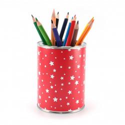 Stiftebecher Sterne rot/weiß inkl. 12 Dreikant Buntstiften| Kinder Stifteköcher Stiftehalter Schreibtisch Organizer Mädchen