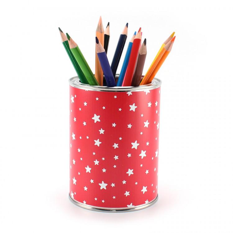 Stiftebecher Sterne rot/weiß inkl. 12 Dreikant Buntstiften Kinder Stifteköcher Stiftehalter Schreibtisch Organizer Mädchen