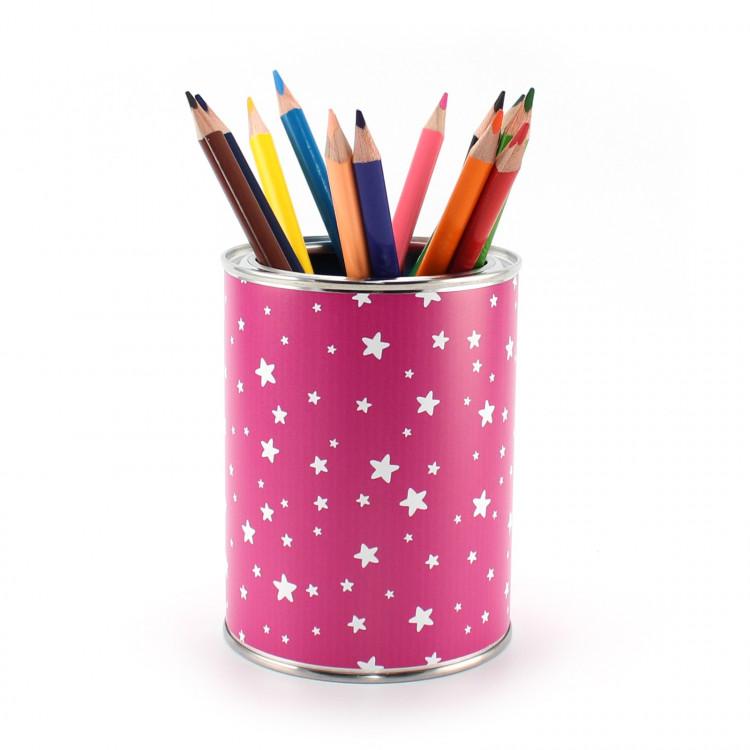 Stiftebecher Sterne pink/weiß inkl. 12 Dreikant Buntstiften| Kinder Stifteköcher Stiftehalter Schreibtisch Organizer Mädchen
