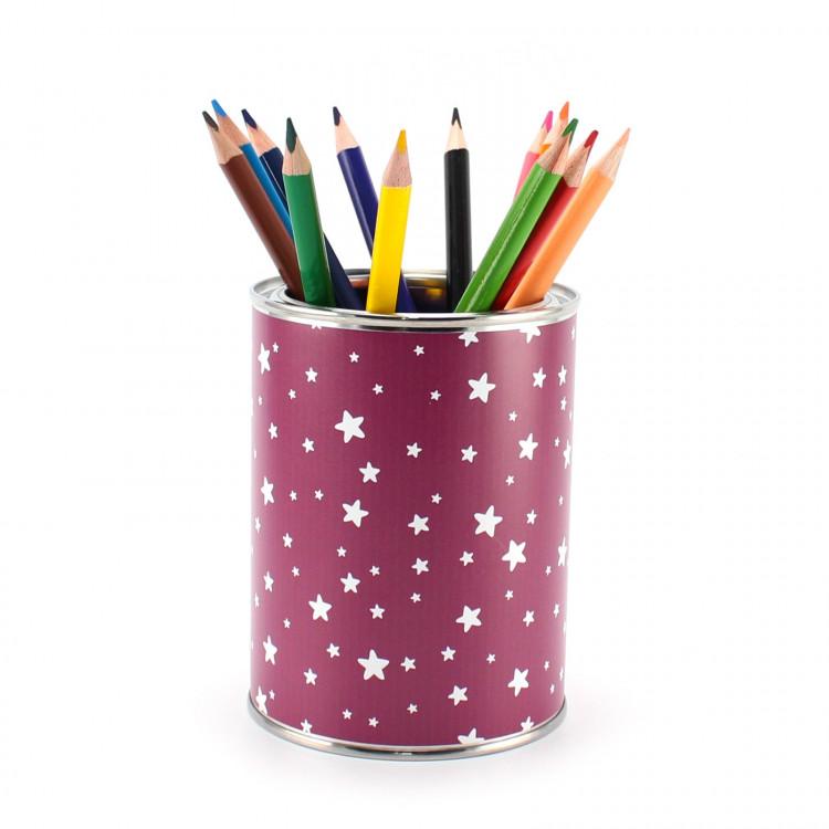 Stiftebecher Sterne beere/weiß inkl. 12 Dreikant Buntstiften Kinder Stifteköcher Stiftehalter Schreibtisch Organizer Mädchen