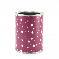 Stiftebecher Sterne beere/weiß inkl. 12 Dreikant Buntstiften| Kinder Stifteköcher Stiftehalter Schreibtisch Organizer Mädchen