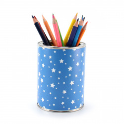 Stiftebecher Sterne blau/weiß inkl. 12 Dreikant Buntstiften| Kinder Stifteköcher Stiftehalter Schreibtisch Organizer Junge
