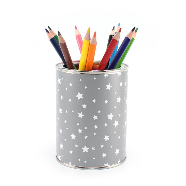 Stiftebecher Sterne grau/weiß inkl. 12 Dreikant Buntstiften| Kinder Stifteköcher Stiftehalter Schreibtisch Organizer Junge