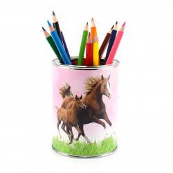Stiftebecher Pferde rosa inkl. 12 Dreikant Buntstiften| Kinder Stifteköcher Stiftehalter Schreibtisch Organizer Mädchen