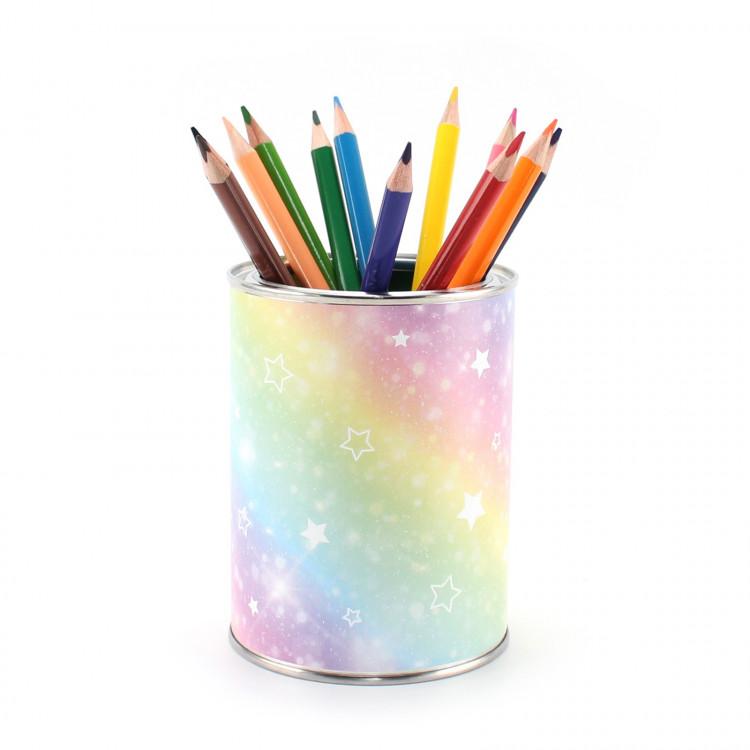 Stiftebecher Regenbogen inkl. 12 Dreikant Buntstiften| Kinder Stifteköcher Stiftehalter Schreibtisch Organizer Mädchen Junge
