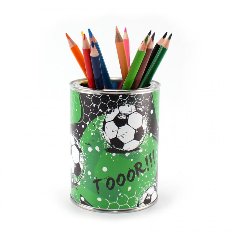 Stiftebecher Fussball TOR inkl. 12 Dreikant Buntstiften| Kinder Stifteköcher Stiftehalter Schreibtisch Organizer Mädchen Junge