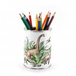 Stiftebecher Dinosaurier inkl. 12 Dreikant Buntstiften| Kinder Stifteköcher Stiftehalter Schreibtisch Organizer Junge