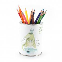 Stiftebecher Dschungeltiere inkl. 12 Dreikant Buntstiften| Kinder Stifteköcher Stiftehalter Schreibtisch Organizer Mädchen Junge