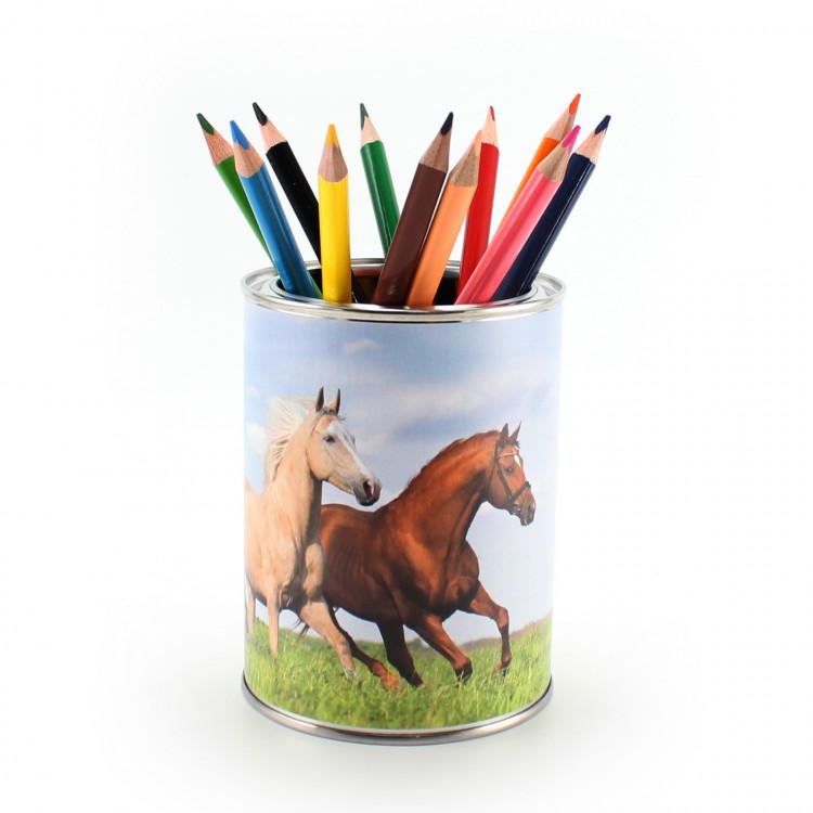 Stiftebecher 3 Pferde inkl. 12 Dreikant Buntstiften| Kinder Stifteköcher Stiftehalter Schreibtisch Organizer Mädchen Junge