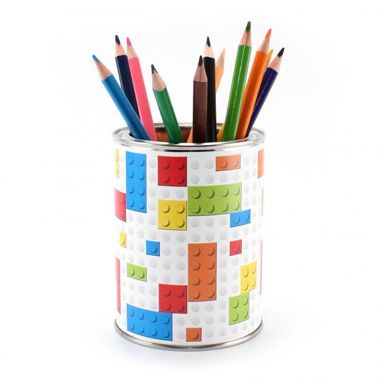 Stiftebecher Bausteine Bauklötze inkl. 12 Dreikant Buntstiften Kinder Stifteköcher Stiftehalter Schreibtisch Organizer Junge