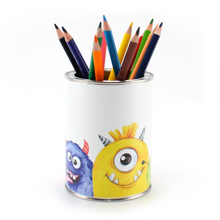 Stiftebecher Monster bunt inkl. 12 Dreikant Buntstiften| Kinder Stifteköcher Stiftehalter Schreibtisch Organizer Junge