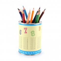 Stiftebecher 1x1 und ABC inkl. 12 Dreikant Buntstiften| Kinder Stifteköcher Stiftehalter Schreibtisch Organizer Mädchen Junge