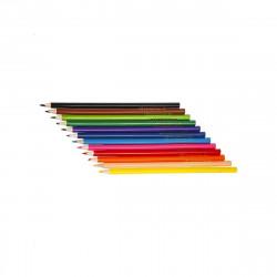 12 Dreikant Buntstiften dünn| Ergonomisch für Kinder durch Dreiecks Form | Farbstifte robuste Mine Bruchfest Set