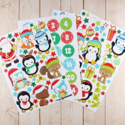 24 Adventskalender Zahlen Aufkleber und Tier Stickerbögen - Weihnachten zum basteln dekorieren DIY