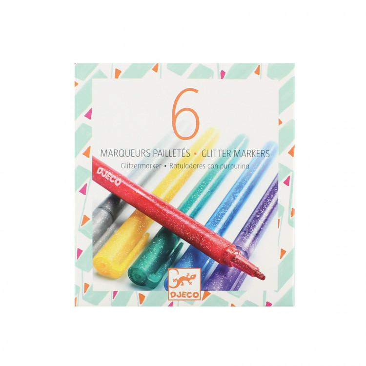 6 Glitzer Marker| gold silber grün blau lila rot | Gelstift Fasermaler Pen Metallic Glitter