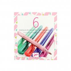 6 Glitzer Marker| mint grün rosa rot blau pink | Gelstift Fasermaler Pen Metallic Glitter Mädchen