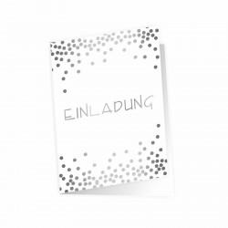 5 Klapp-Einladungskarten Punkte Silber inkl. 5 weißen Briefumschlägen