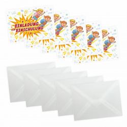 5 coole Einladungskarten Einschulung Kinder inkl. 5 transparenten Briefumschlägen Mädchen Junge