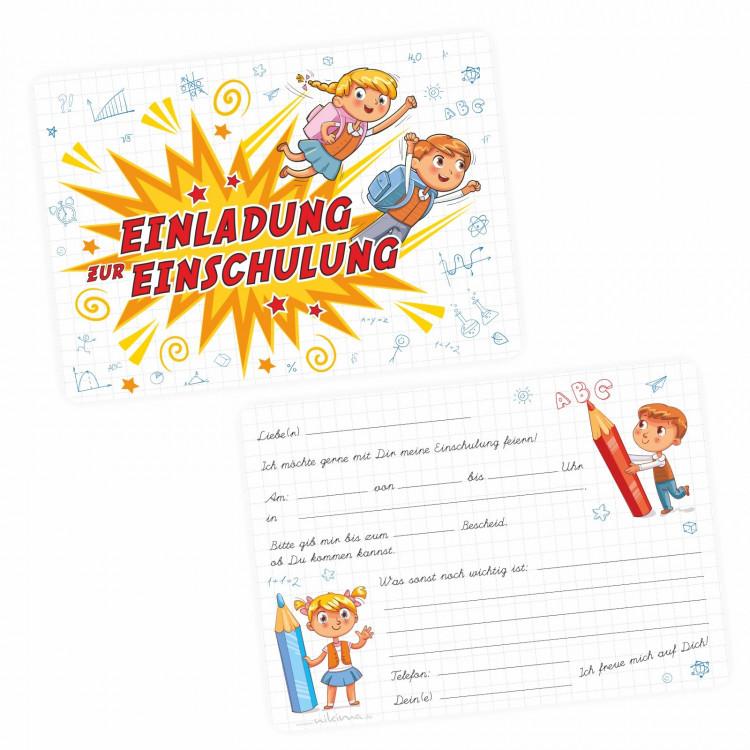 1 coole Einladungskarten Einschulung Kinder inkl. 1 transparenten Briefumschlag