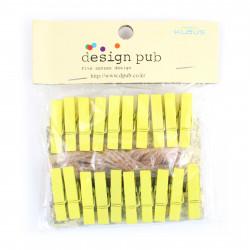 20 Mini Wäscheklammern Gelb L 35 mm - Dekoklammern, Miniklammern, Klammern, Fotoklammer, Holzklammer