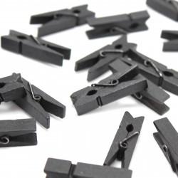 20 Mini Wäscheklammern Schwarz L 35 mm - Dekoklammern, Miniklammern, Klammern, Fotoklammer, Holzklammer