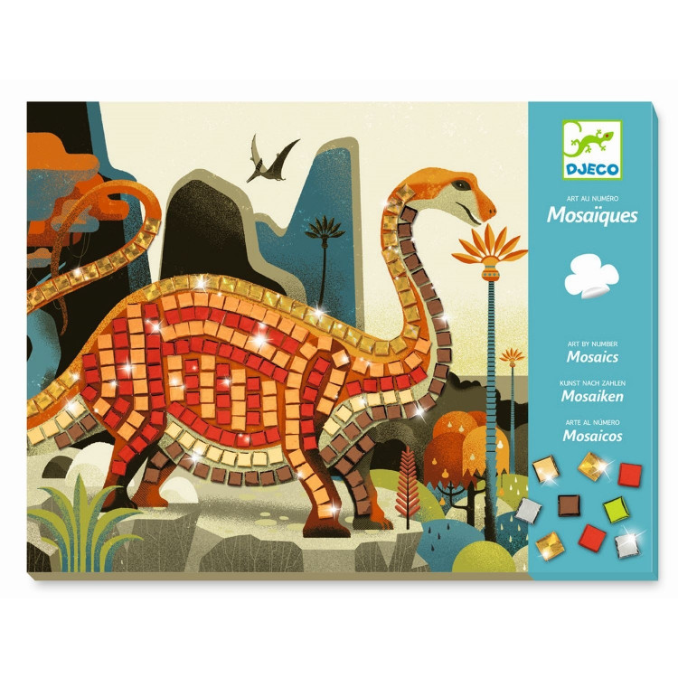 DJECO Kreativset Dinosaurier Bastelset Mosaikbild Mosaiksteine Junge