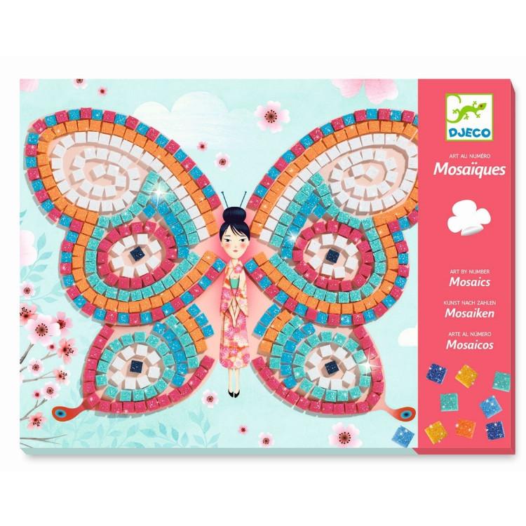 DJECO Kreativset Schmetterlinge Bastelset Mosaikbild Mosaiksteine Mädchen Glitzer