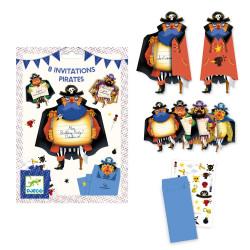 DJECO 8 Einladungskarten Piraten mit Stickern und 8 Umschlägen