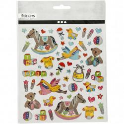 Baby Sticker mit Silberdetails - Blatt 15 x 16,5 cm - Deko Aufkleber Stickerbogen