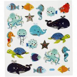 Meerestiere Sticker mit Silberdetails - Blatt 15 x 16,5 cm - Deko Aufkleber Stickerbogen