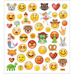 Emoji Sticker mit Golddetails - Blatt 15 x 16,5 cm - Deko Aufkleber Smilys