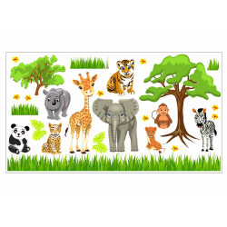 088 Wandtattoo Baby Zoo Safari Tiere
