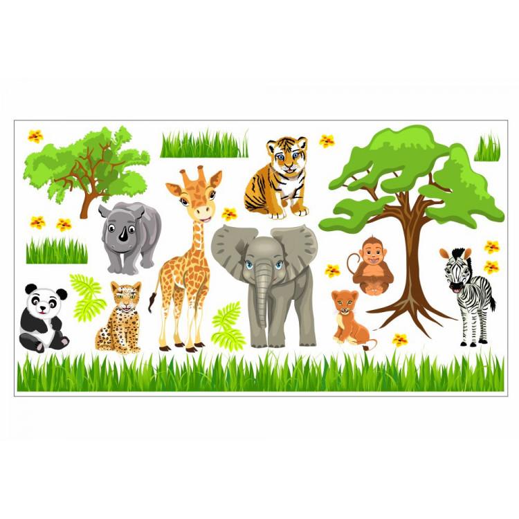 088 Wandtattoo Baby Zoo Safari Tiere
