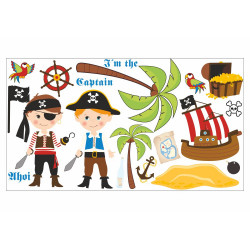 090 Wandtattoo Pirat mit Schiff und Insel