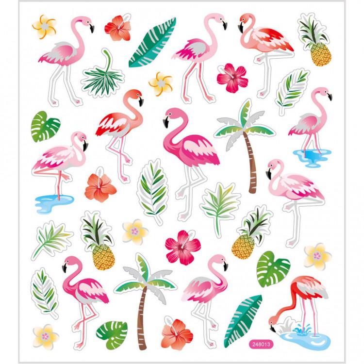 Flamingo Sticker mit Glitzer - Blatt 15 x 16,5 cm - Deko Aufkleber rosa