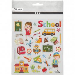 Schul Sticker mit Glitzer - Blatt 15 x 16,5 cm - Deko Aufkleber bunt