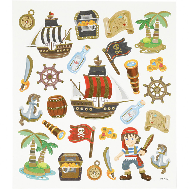 Piraten Sticker mit Metalliceffekt - Blatt 15 x 16,5 cm - Aufkleber Stickerbogen