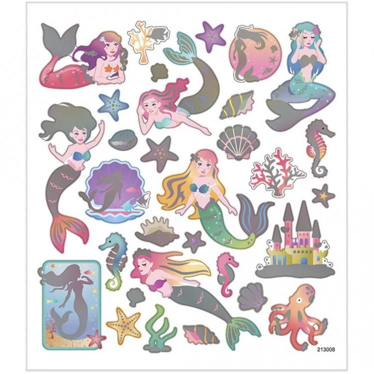 Meerjungfrauen Sticker mit Silber Metalliceffekt - Blatt 15 x 16,5 cm - Aufkleber Stickerbogen