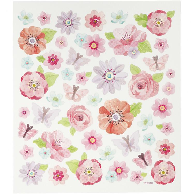 Blumen Sticker mit Glitzerlack - Blatt 15 x 16,5 cm - Aufkleber Stickerbogen