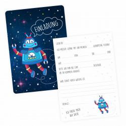 5 Einladungskarten Roboter mit Silberlack inkl. 5 Briefumschlägen
