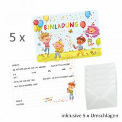 5 bunte Einladungskarten Kindergeburtstag inkl. 5 Briefumschlägen
