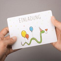 5 Einladungskarten Happy Snake inkl. 5 Briefumschlägen