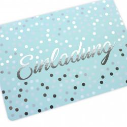 5 Einladungskarten Mint mit Silberlack inkl. 5 weißen Briefumschlägen