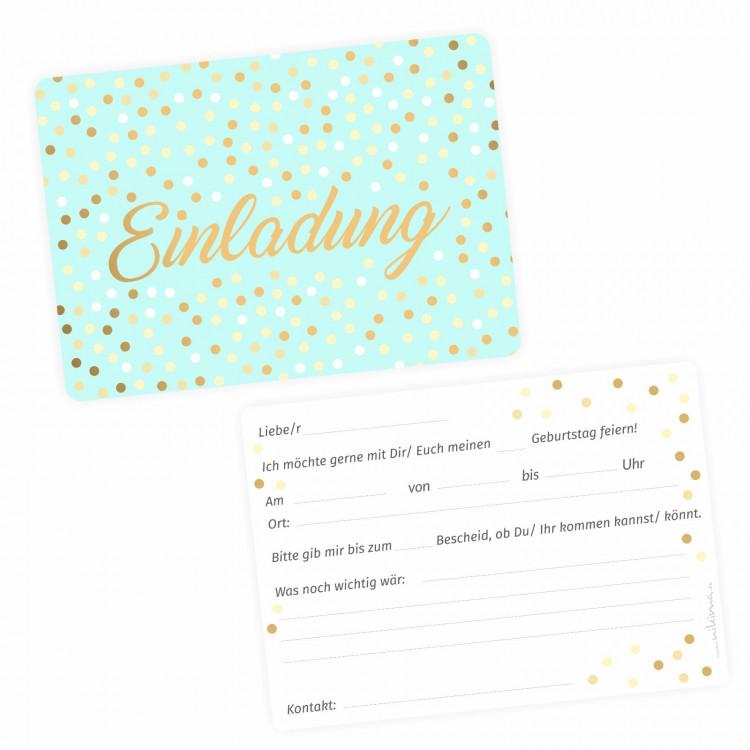 5 Einladungskarten Mint mit Goldlack inkl. 5 weißen Briefumschlägen