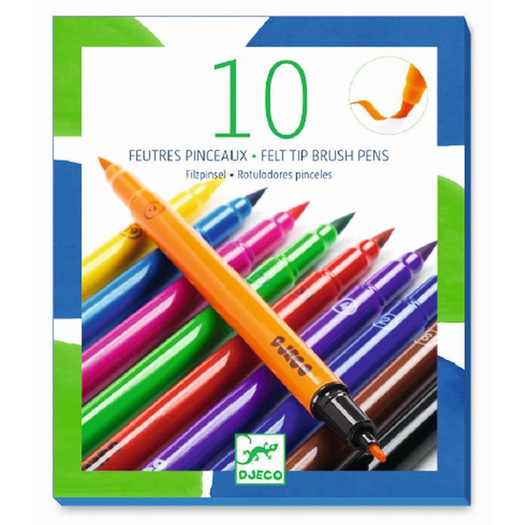 DJECO 10 beidseitige Pinselstifte Filzstifte classic