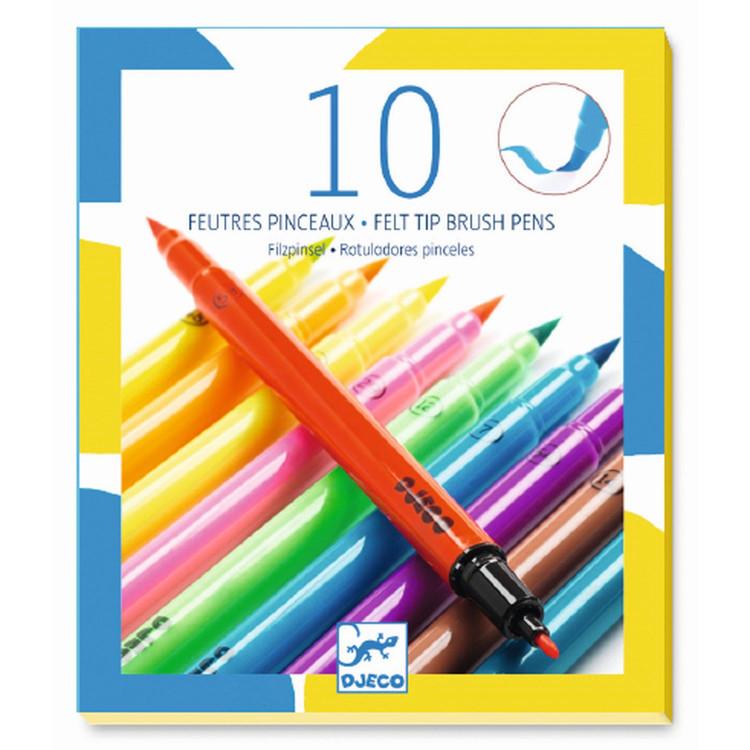 DJECO 10 beidseitige Pinselstifte Filzstifte Pop Up Farben