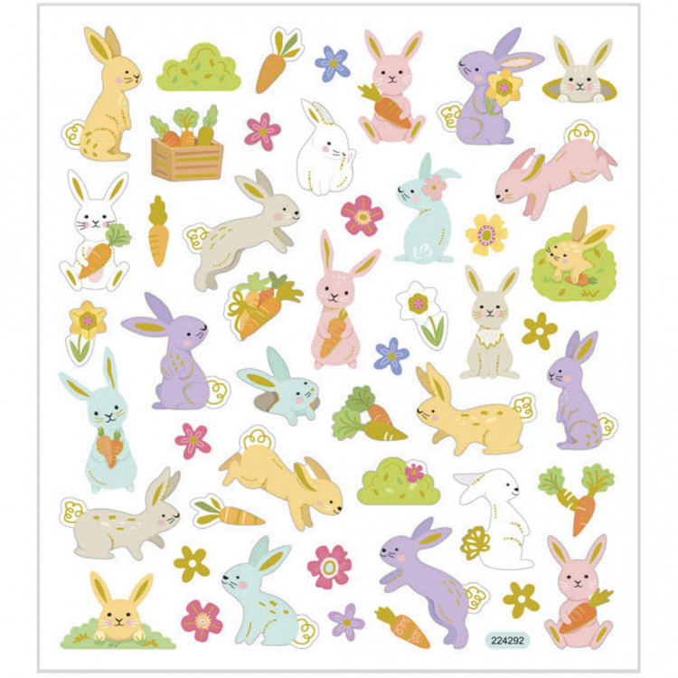 Osterhasen Sticker mit Metalliceffekt - Blatt 15 x 16,5 cm - Ostern Deko Aufkleber Stickerbogen