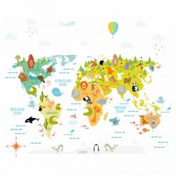173 Wandtattoo Weltkarte mit Tieren - Kinderzimmer Wanddeko